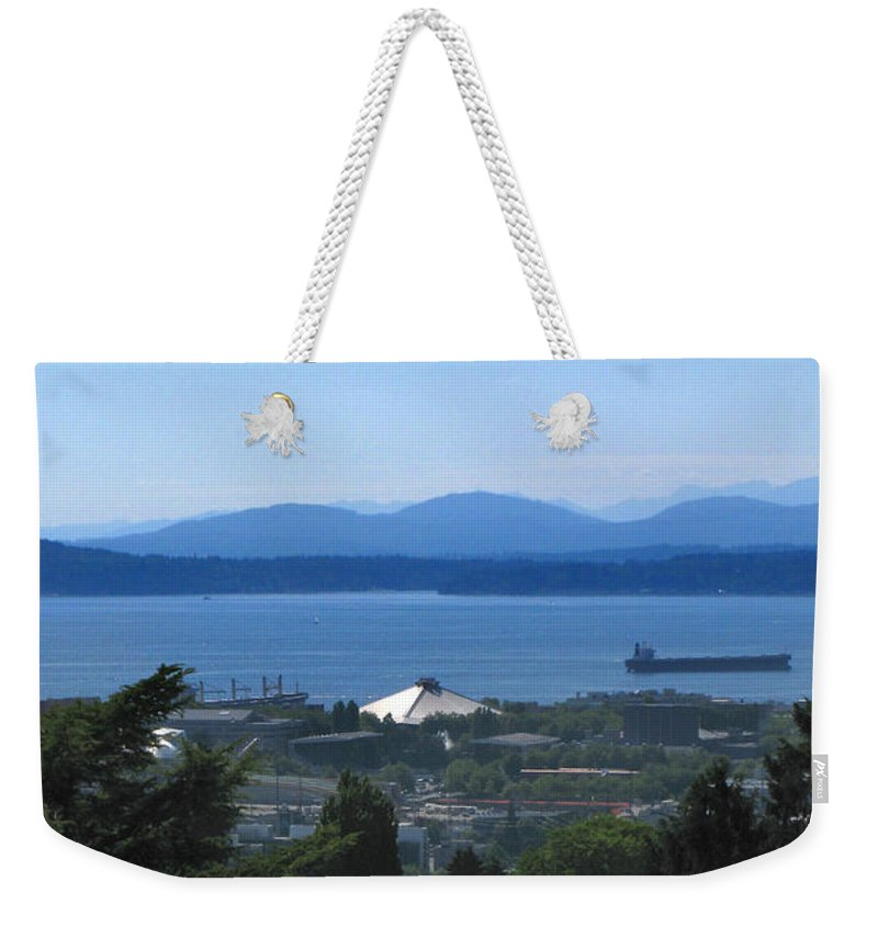Seattle Weekender Tote Bag featuring the photograph Seattle From Above by Jeffery Ball