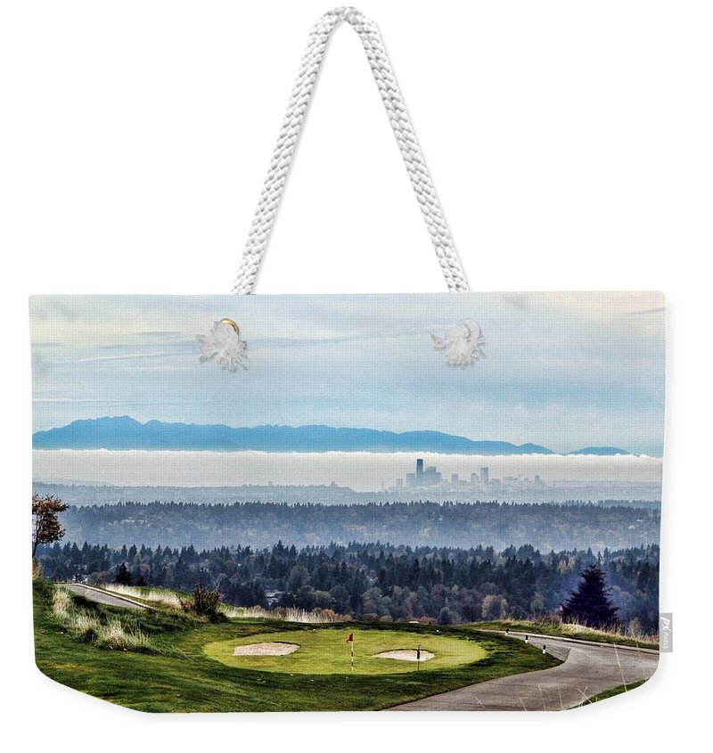 Landscape Weekender Tote Bag featuring the photograph Seattle In The Fog by Terri Tiffany