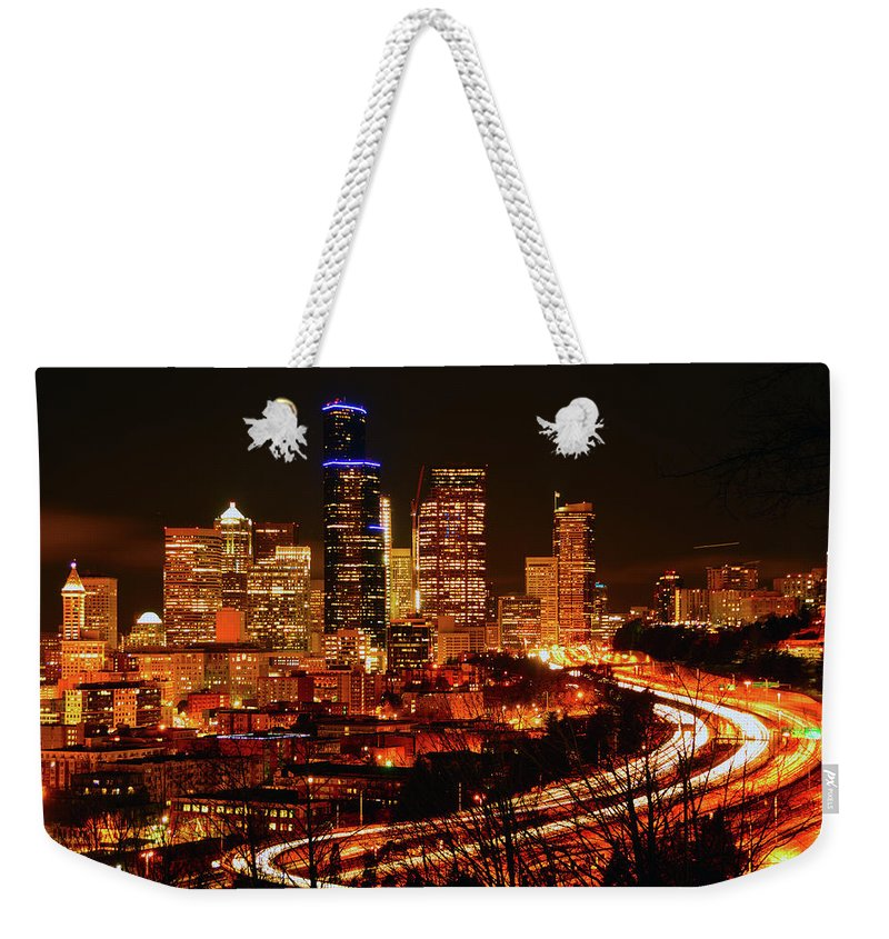 Seattle Weekender Tote Bag featuring the photograph Seattle Night Traffic by Brian O'Kelly