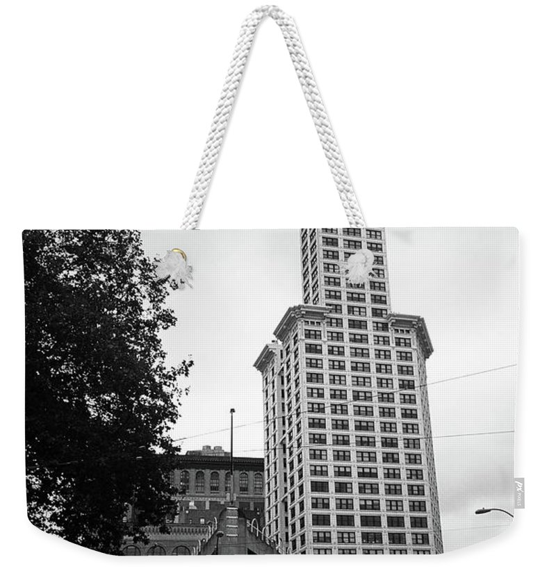 America Weekender Tote Bag featuring the photograph Seattle - Pioneer Square Tower Bw by Frank Romeo