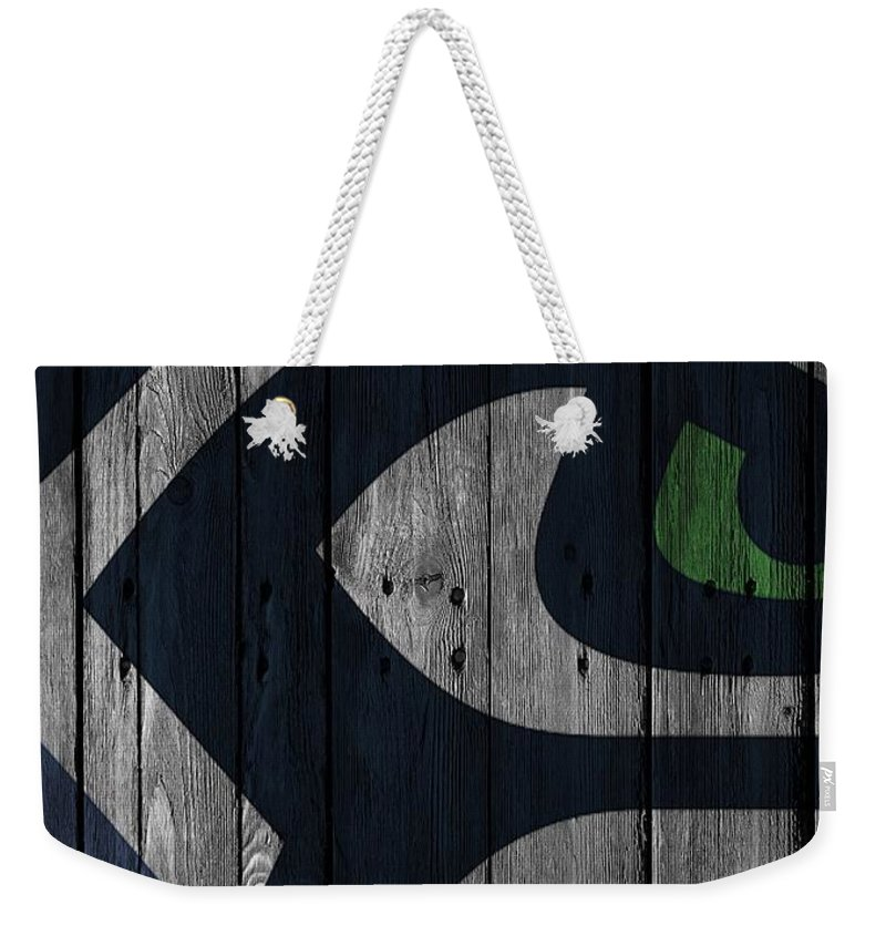 Seahawks Weekender Tote Bag featuring the photograph Seattle Seahawks Wood Fence by Joe Hamilton