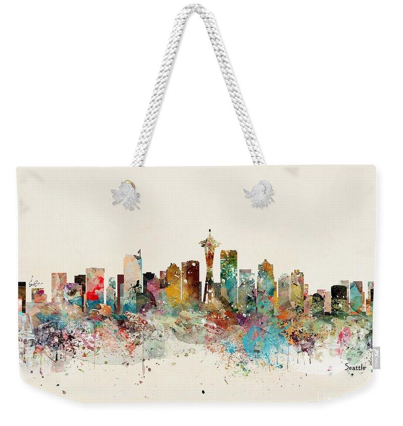 Seattle Weekender Tote Bag featuring the painting Seattle Skyline by Bri Buckley