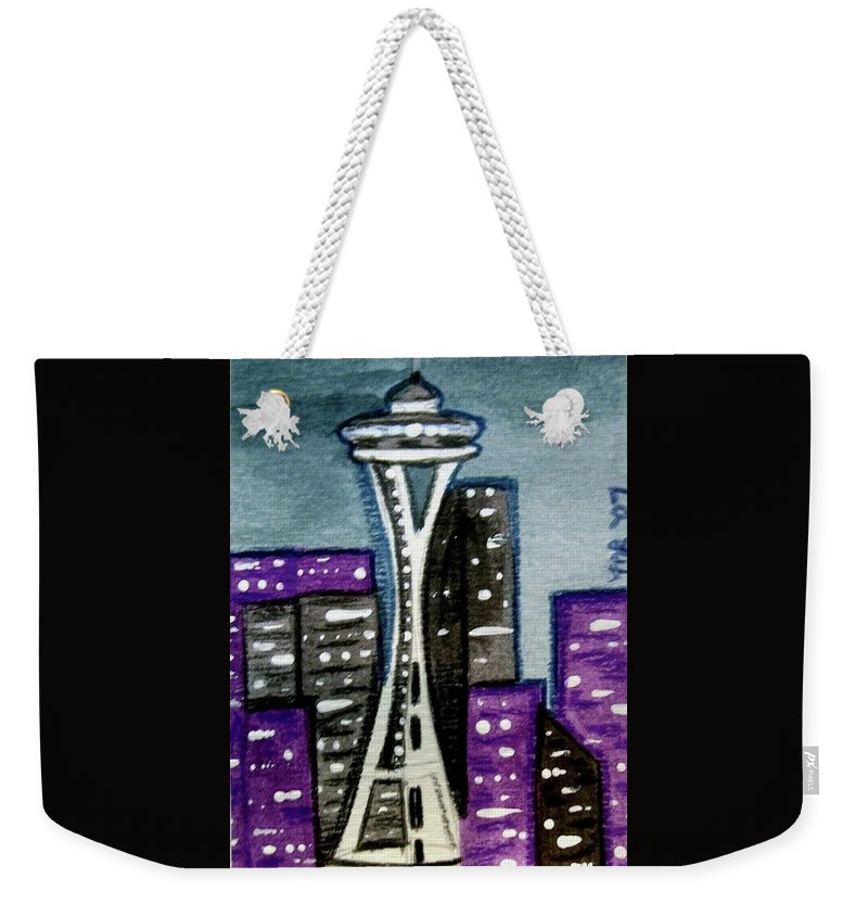 Space Needle Weekender Tote Bag featuring the painting Seattle Space Needle Cityscape by Monica Resinger
