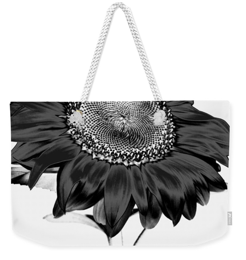 Black And White Photography Weekender Tote Bag featuring the photograph Seattle Sunflower Bw Invert - Stronger by Heather Kirk