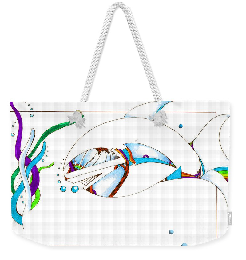 Fish Weekender Tote Bag featuring the drawing Seaweed Fish Illustration by Jean Habeck