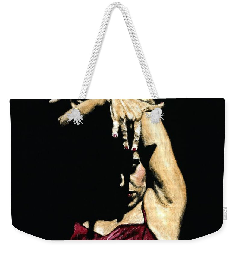 Flamenco Weekender Tote Bag featuring the painting Seclusion Del Flamenco by Richard Young