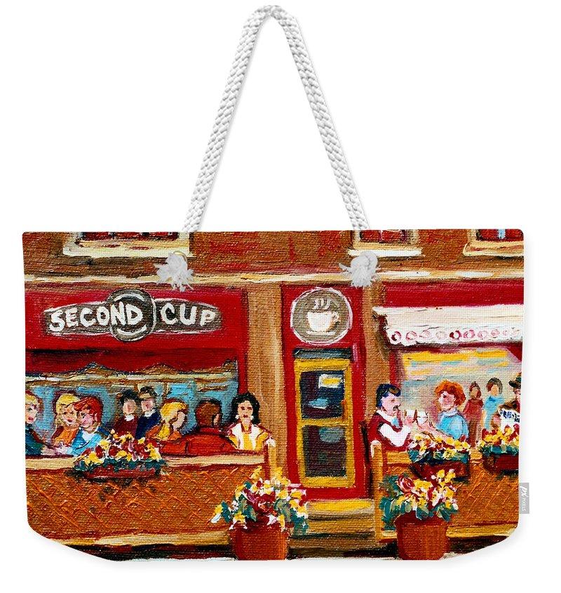 Second Cup Coffee Shop Weekender Tote Bag featuring the painting Second Cup Coffee Shop by Carole Spandau