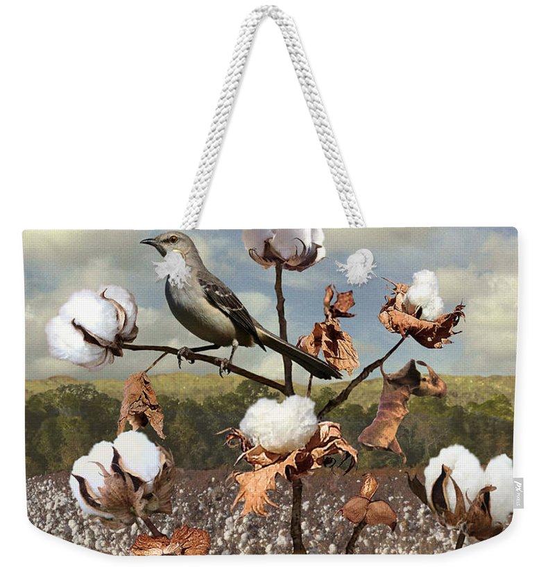 Bird Weekender Tote Bag featuring the digital art Secret Of The Mockingbird by M Spadecaller