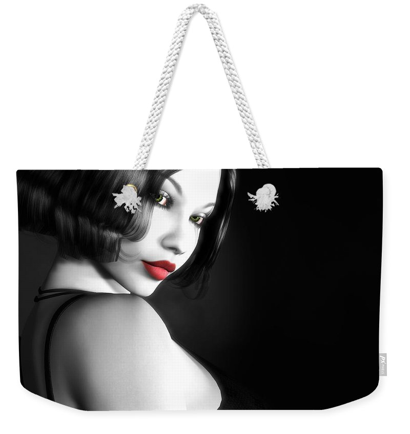 Sexy Weekender Tote Bag featuring the digital art Secretive Desire by Alexander Butler