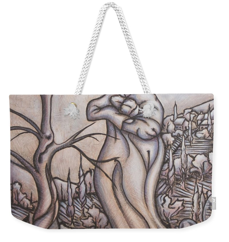 Dream. Moon Weekender Tote Bag featuring the painting Secrets And Dreams by Judy Henninger