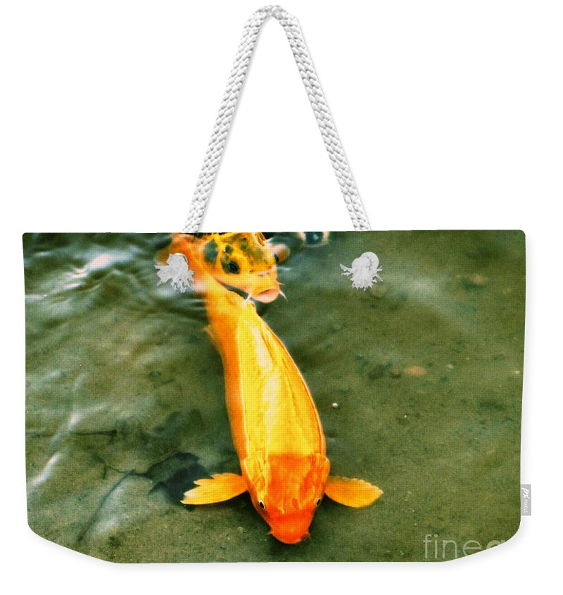 Koi Weekender Tote Bag featuring the photograph Secrets Of The Wild Koi 11 by September Stone