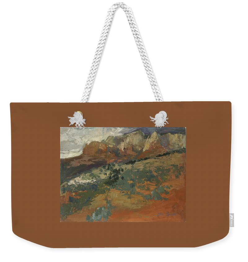 Sedona Landscape Weekender Tote Bag featuring the painting Sedona Az Break In The Storm by Betty Jean Billups