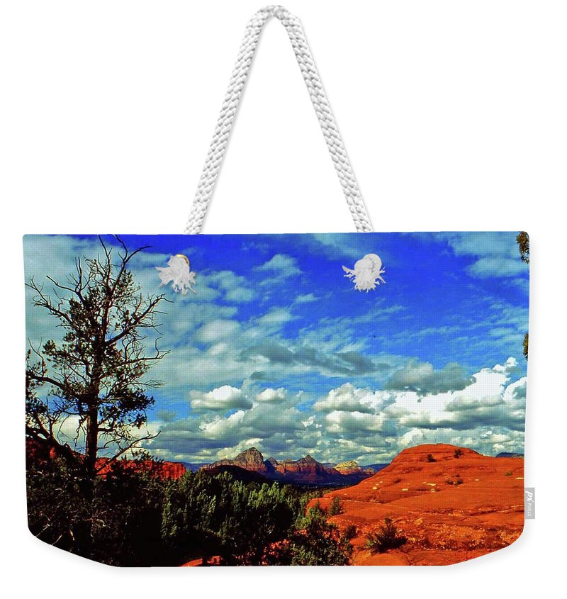 Arizona Weekender Tote Bag featuring the photograph Sedona Capitol Butte by Gary Wonning