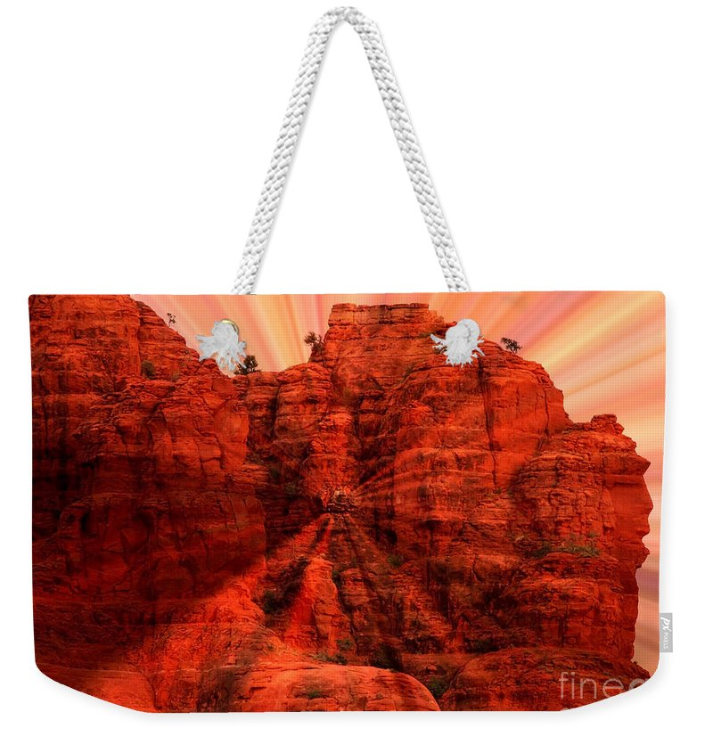 Sedona Weekender Tote Bag featuring the photograph Sedona Sunset Energy - Abstract Art by Carol Groenen