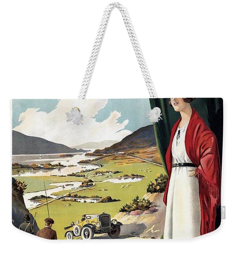 Ireland Weekender Tote Bag featuring the mixed media See Ireland First - Irish Tourist Association - Retro travel Poster - Vintage Poster by Studio Grafiikka