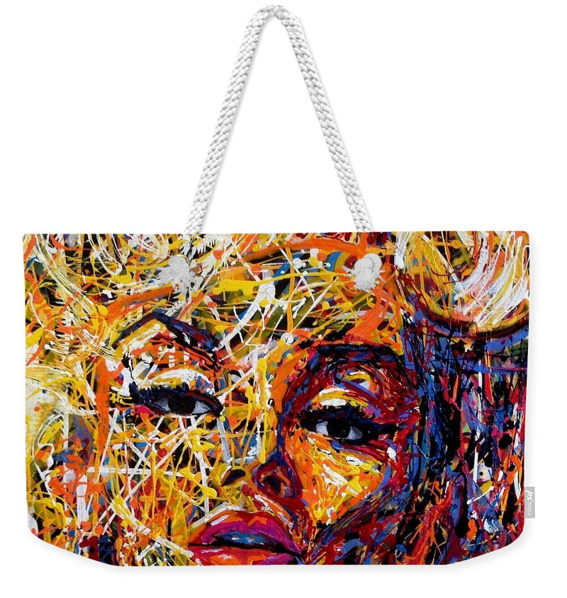 Art Weekender Tote Bag featuring the painting See Me by Angie Wright