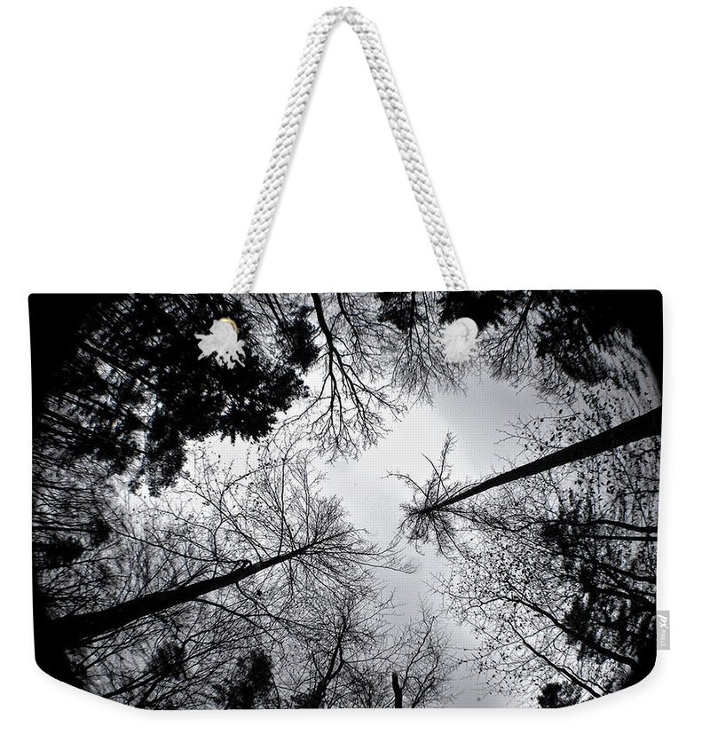 Darkness Weekender Tote Bag featuring the drawing See Of Darkness by Yudhit Hadi