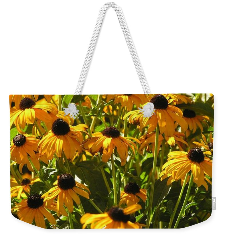 Sunflower Weekender Tote Bag featuring the photograph See Us Together by Diane Greco-Lesser