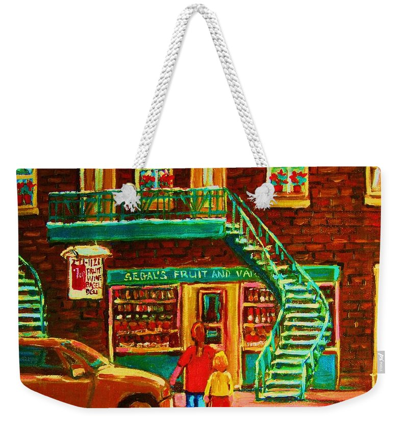 Staircases Weekender Tote Bag featuring the painting Segal's Fruit And Variety Store by Carole Spandau