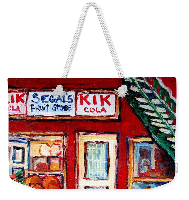 Segal Weekender Tote Bag featuring the painting Segal's Market St.lawrence Boulevard Montreal by Carole Spandau
