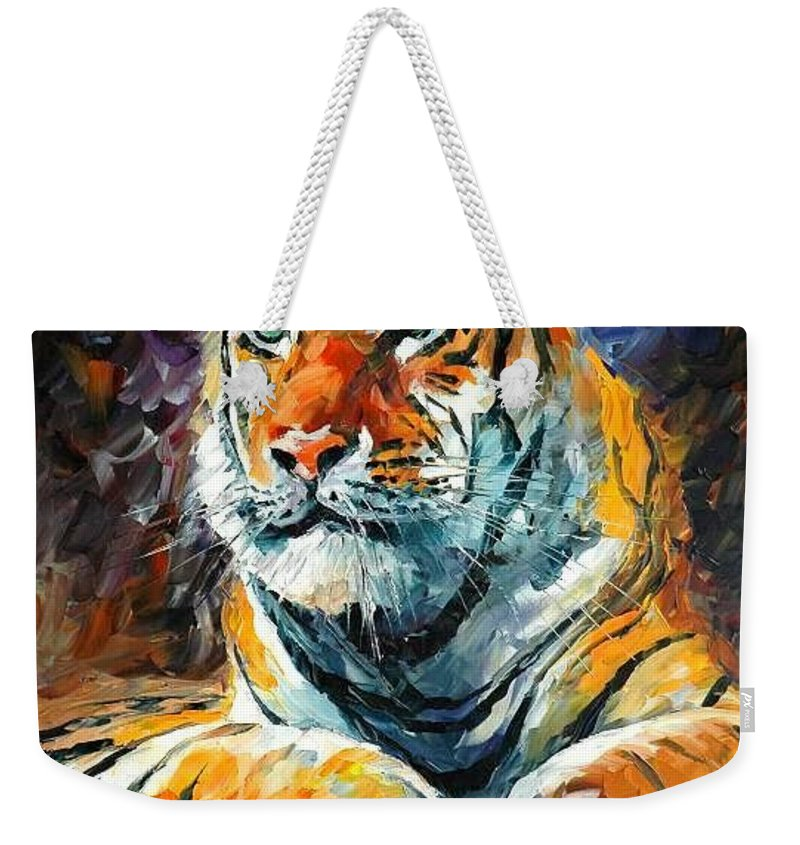 Painting Weekender Tote Bag featuring the painting Seibirian Tiger by Leonid Afremov