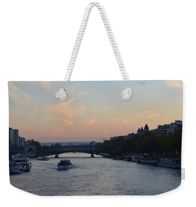 Seine Weekender Tote Bag featuring the photograph Seine At Sunset by Dawn Crichton