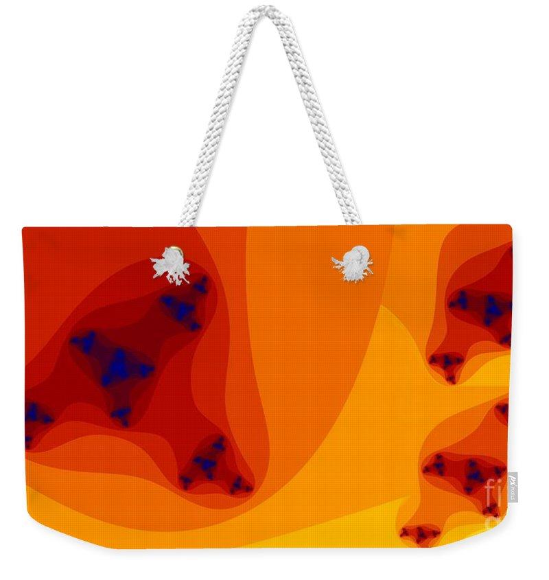 Oranges Weekender Tote Bag featuring the digital art Seis Naranjas by Ron Bissett