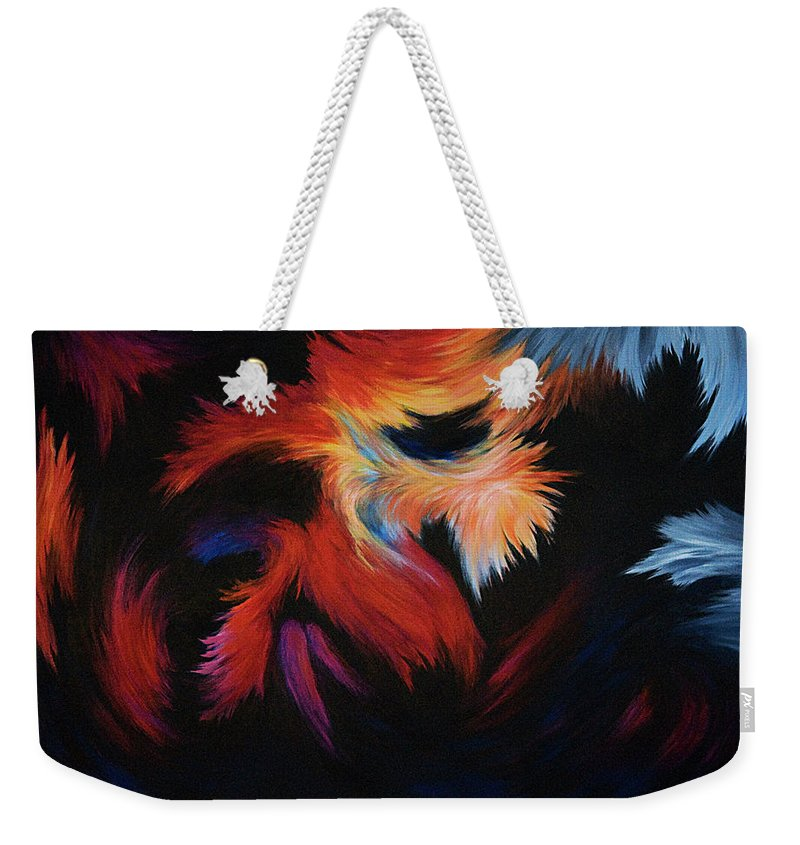 Abstract Weekender Tote Bag featuring the painting Seizure by Rachel Christine Nowicki