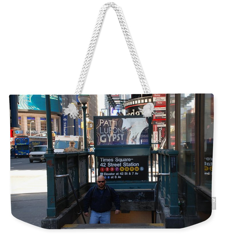 Subay Weekender Tote Bag featuring the photograph Self At Subway Stairs by Rob Hans