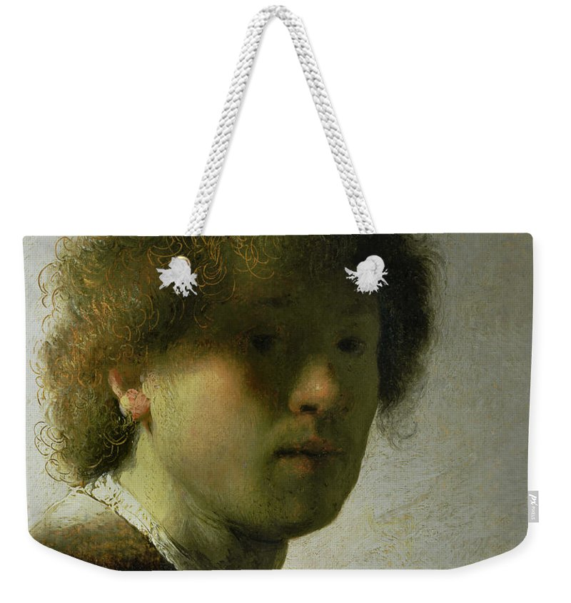Self Weekender Tote Bag featuring the painting Self Portrait As A Young Man by Rembrandt