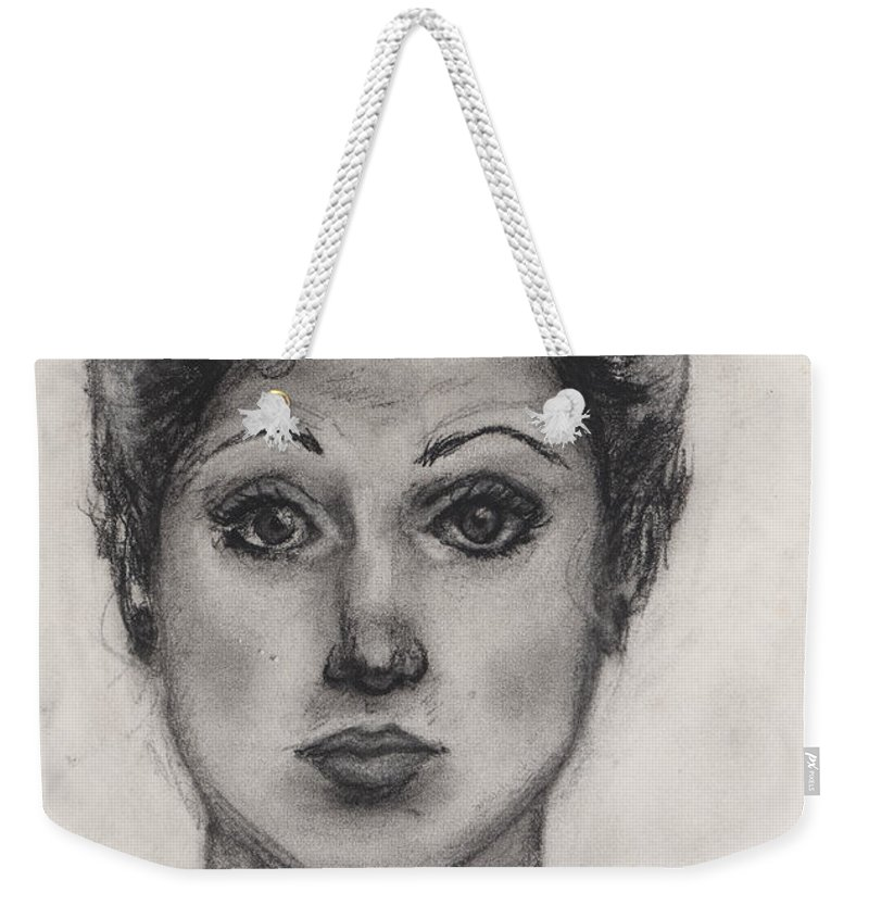 Nadine Weekender Tote Bag featuring the drawing Self Portrait At Age 18 by Nadine Rippelmeyer