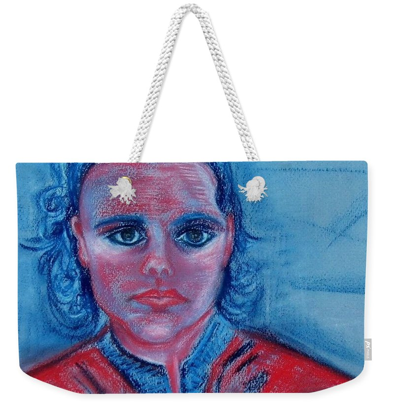 Self-portrait Weekender Tote Bag featuring the drawing Self Portrait by Caroline Street