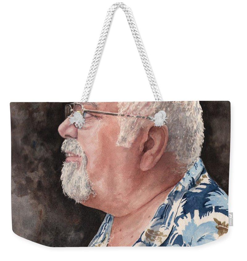 Weekender Tote Bag featuring the painting Self Portrait by Sam Sidders