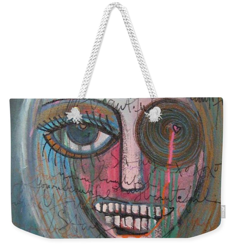 Self Portraits Weekender Tote Bag featuring the painting Self Portrait Youre Beautiful by Laurie Maves ART