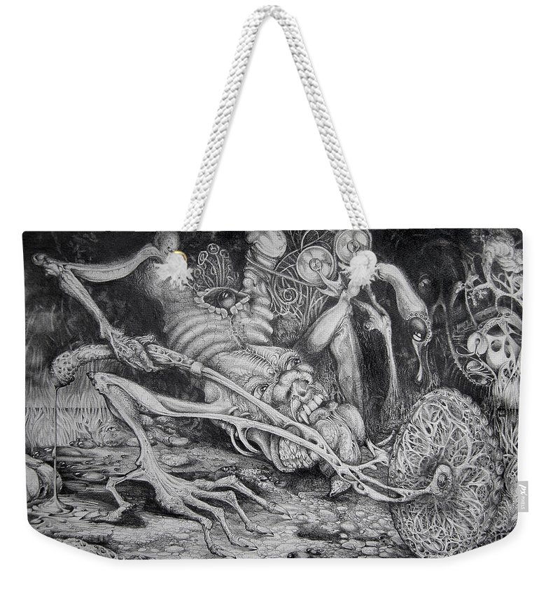 Surrealism Weekender Tote Bag featuring the drawing Selfpropelled Beastie Seeder by Otto Rapp