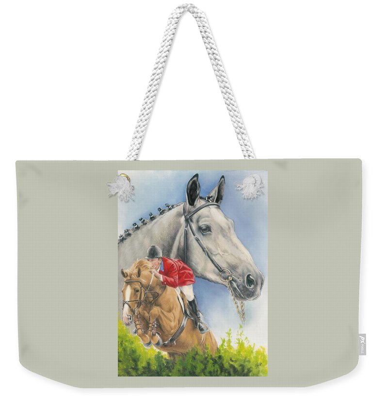 Competition Weekender Tote Bag featuring the mixed media Selle Francaise by Barbara Keith