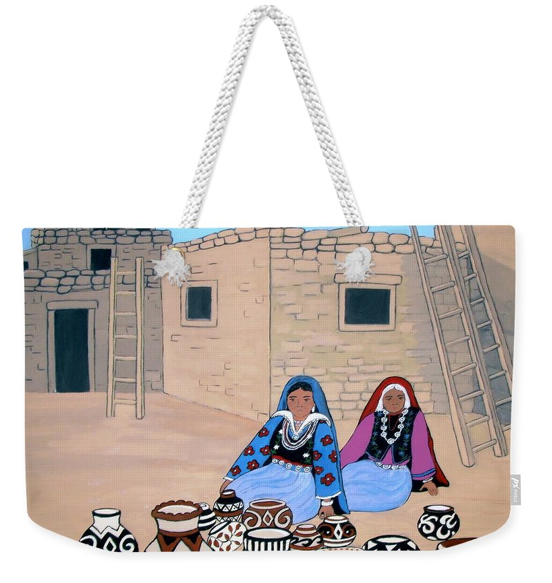Women Weekender Tote Bag featuring the painting Selling Pots by Stephanie Moore