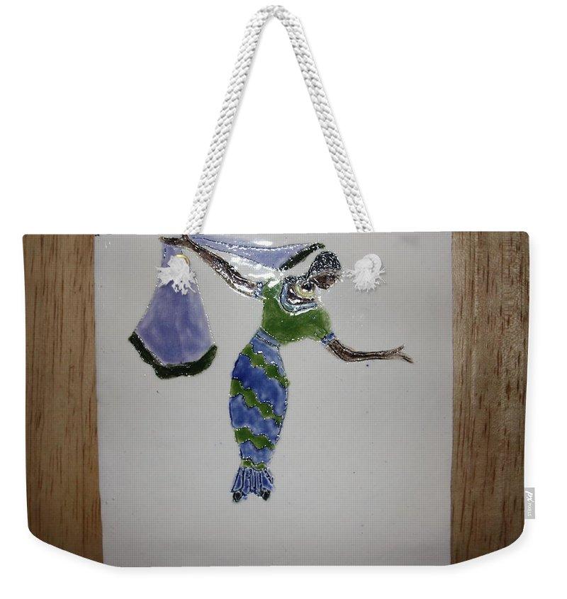 Jesus Weekender Tote Bag featuring the ceramic art Selma - Tile by Gloria Ssali