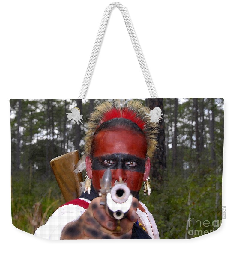 Seminole Indian Weekender Tote Bag featuring the photograph Seminole Warrior by David Lee Thompson