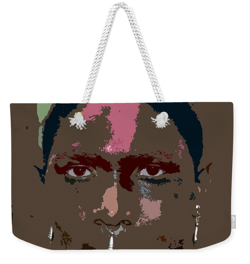 Seminole Weekender Tote Bag featuring the painting Seminole Warrior Work Number Two by David Lee Thompson
