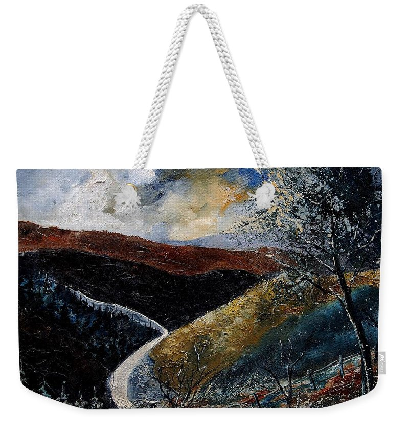River Weekender Tote Bag featuring the painting Semois Valley by Pol Ledent