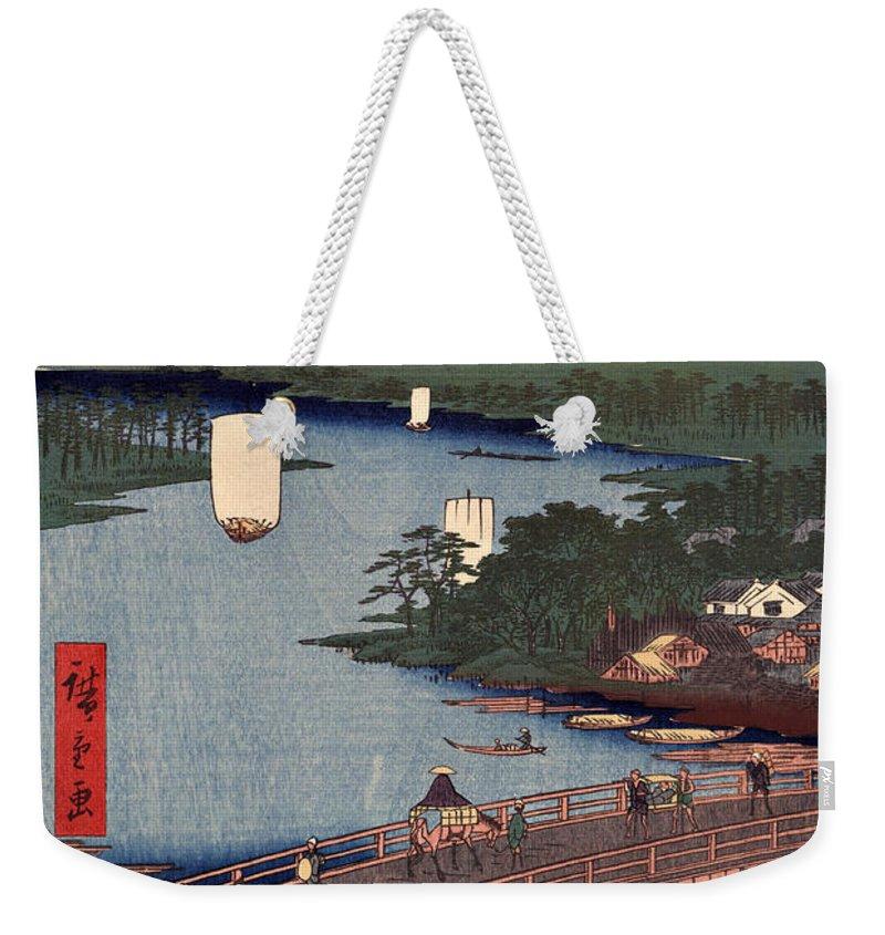 Senju Weekender Tote Bag featuring the digital art Senju No Oubashi by Ricky Barnard