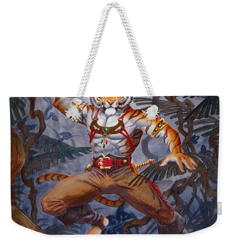 Cat Weekender Tote Bag featuring the painting Sense Dark by Melissa A Benson