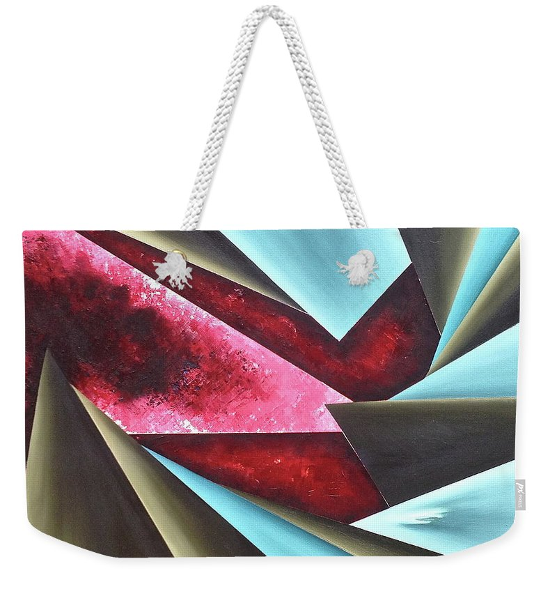 Weekender Tote Bag featuring the painting Sense of Reality by Ara Elena