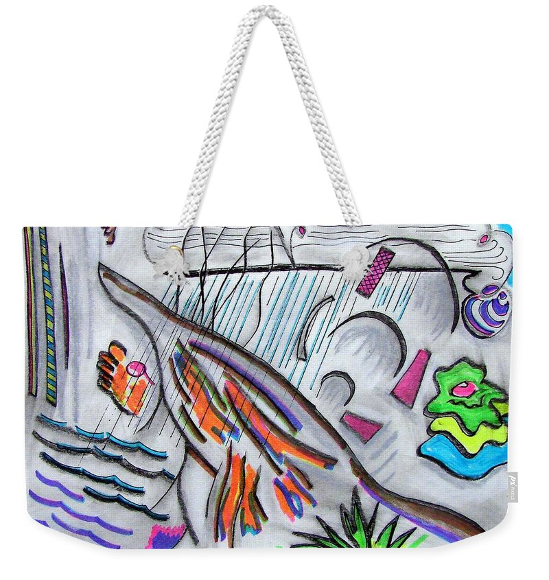 Abstract Drawing Weekender Tote Bag featuring the drawing Sensing The Precipice by J R Seymour