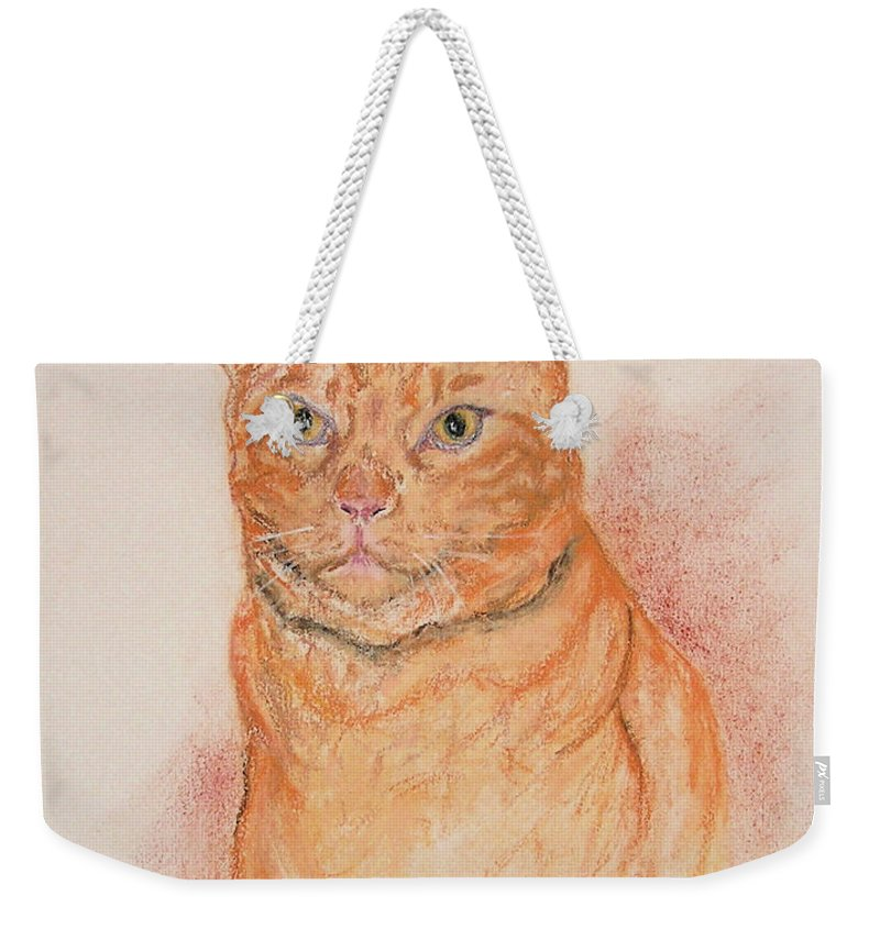 Cat Weekender Tote Bag featuring the drawing Sentinel by Cori Solomon
