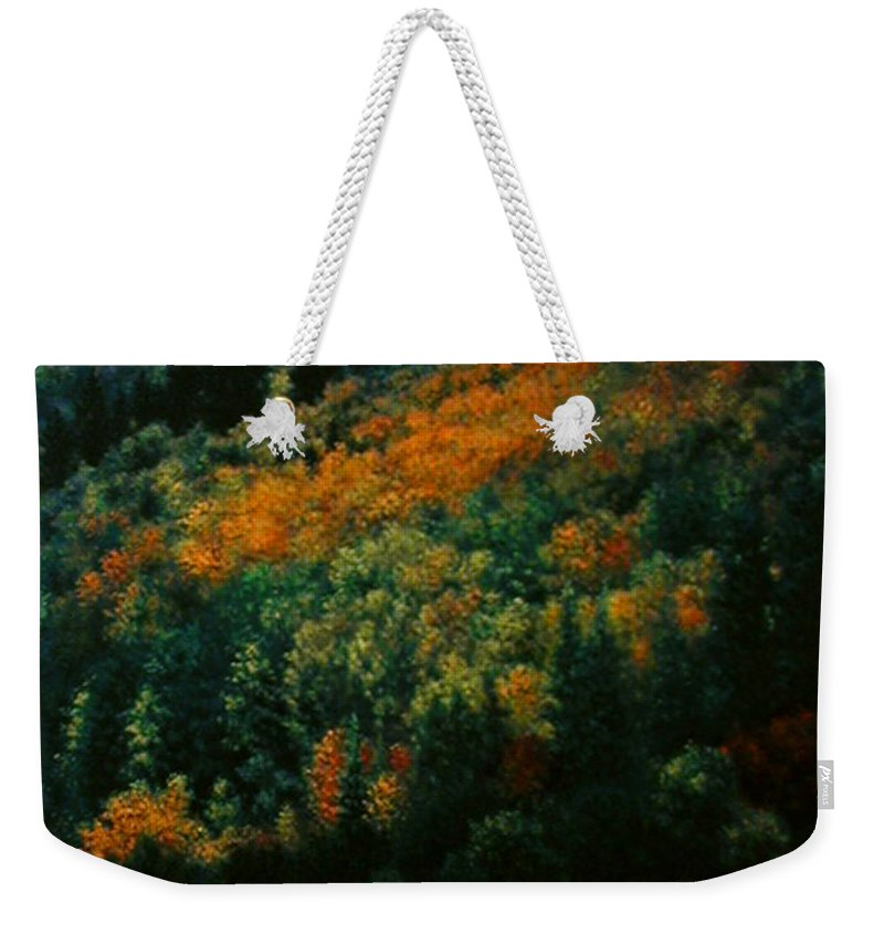 Scenic Weekender Tote Bag featuring the painting Sentinels Of September Serenity by Stephen Lucas