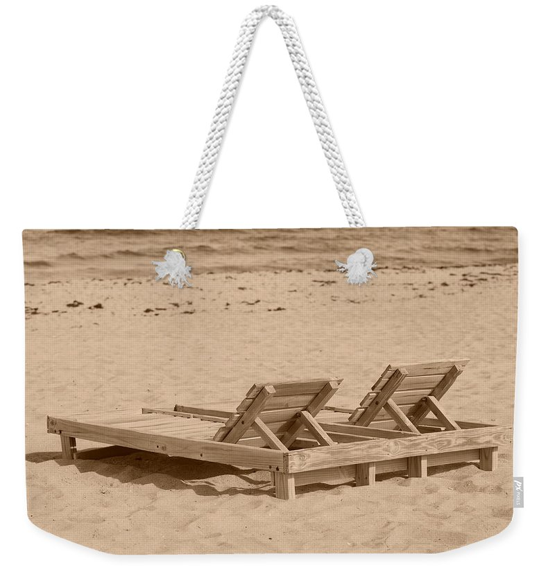 Chez Lounge Weekender Tote Bag featuring the photograph Sepia Chairs by Rob Hans