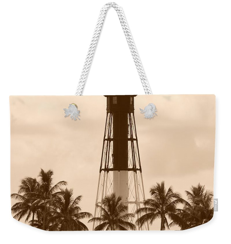 Sepia Weekender Tote Bag featuring the photograph Sepia Light House by Rob Hans