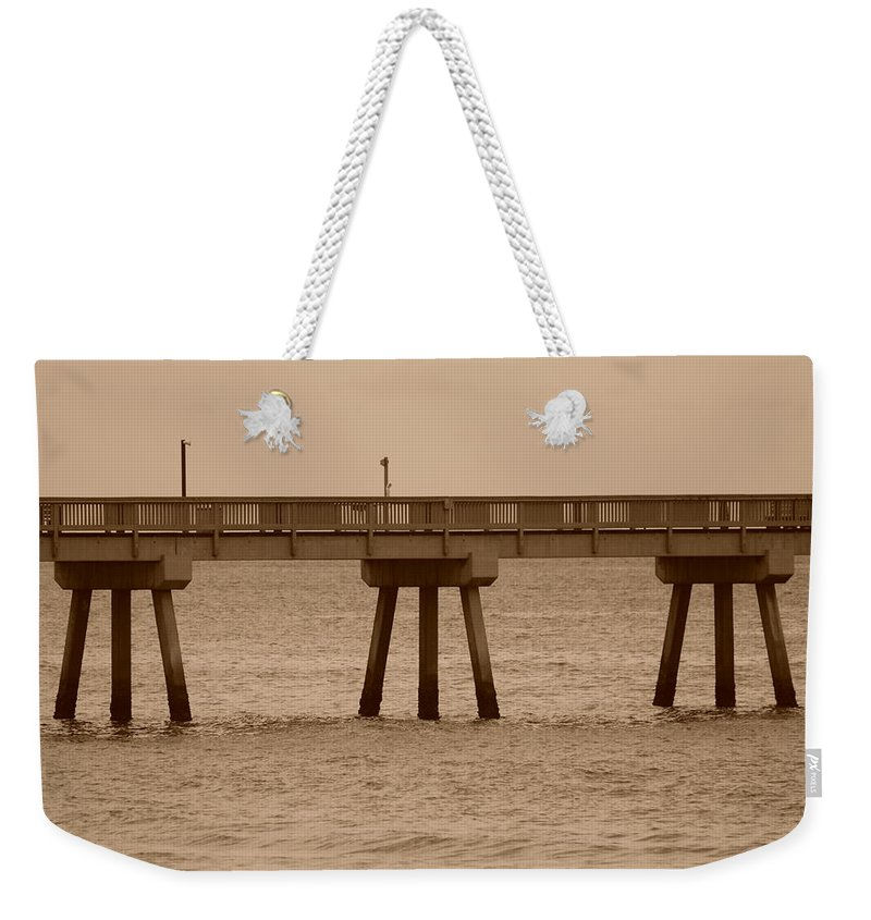 Sepia Weekender Tote Bag featuring the photograph Sepia Pier by Rob Hans